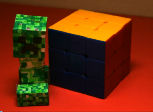 Creeper Sneaks Up On Rubiks Cube